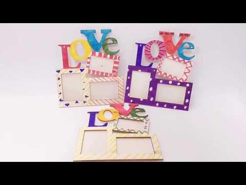2 PCS Children Creative Crafts Handmade DIY Wooden Photo Frame