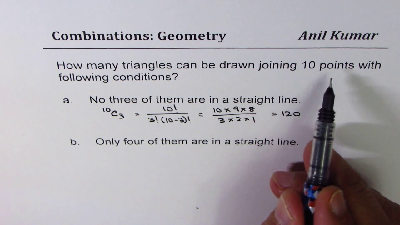 How many triangle combinations can be formed with 10 points some neing  collinear