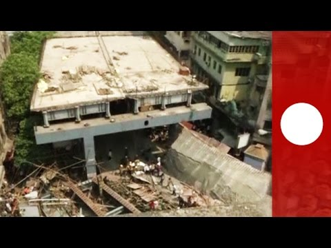 CCTV: Moment Kolkata overpass collapses onto street below, India