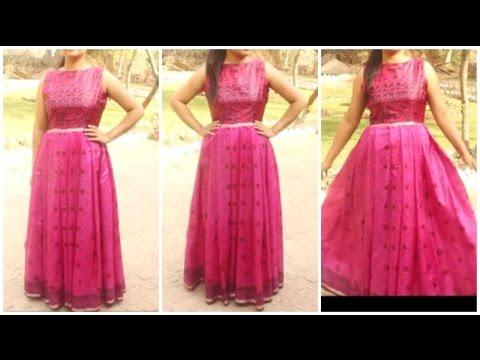 Convert Old Saree Into Long Gown Dress | DIY