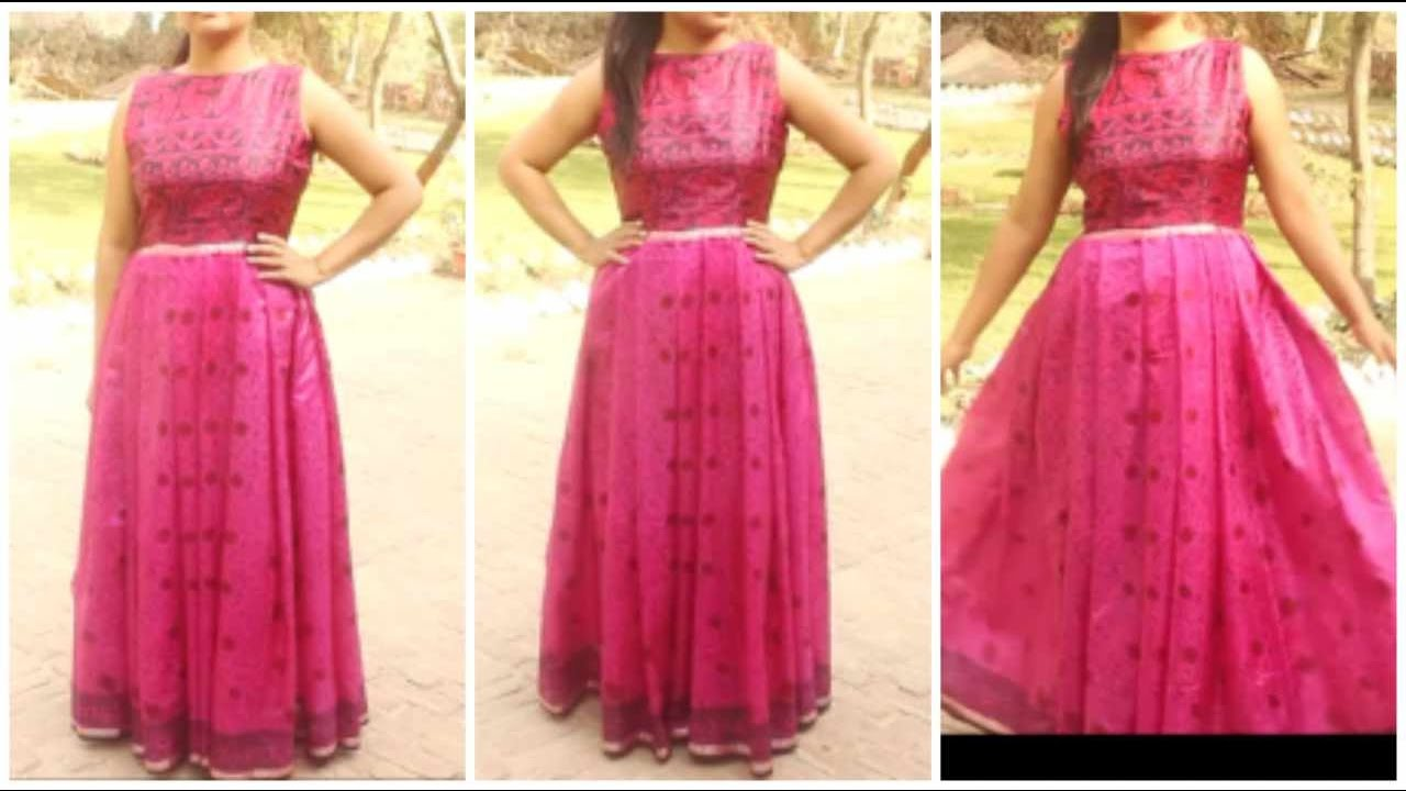 Convert Old Saree Into Long Gown Dress | DIY - YouTube