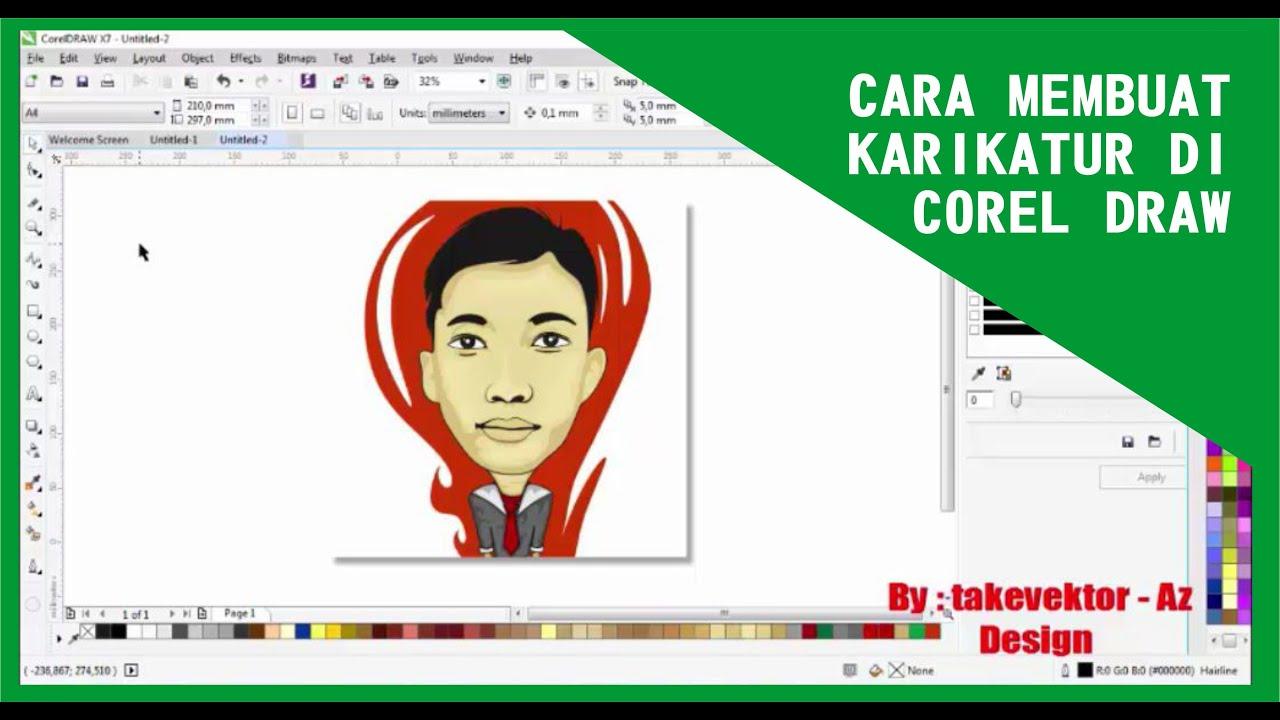 Tutorial Membuat Karikatur Dengan Corel Draw By Takevektor YouTube