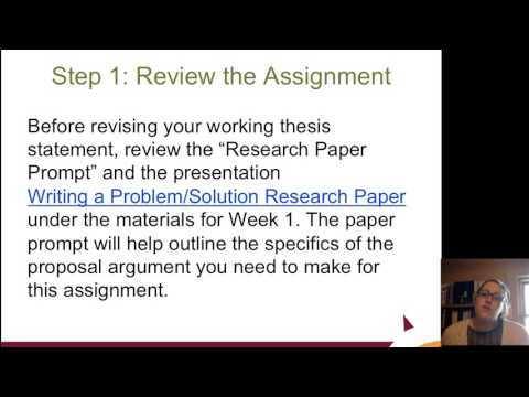 Revising a Working Thesis Statement