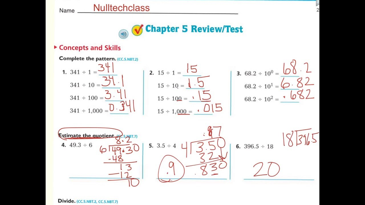 Go Math Grade 6 Chapter 5 Review Test Answer Key