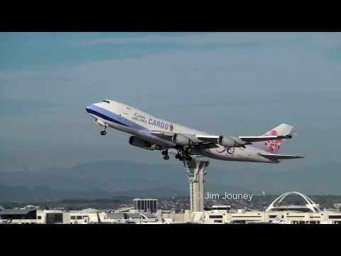 China Airlines Cargo 747 LAX Takeoff - Live ATC Audio