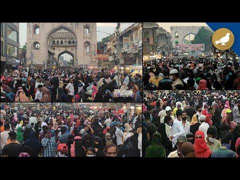 Huge crowd for Ramadan shopping near Charminar
