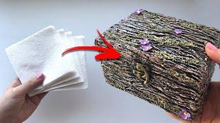 DIY Красивая шкатулка своими руками | Папье-маше | Имитация коры дерева
