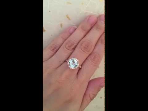 Vintage Floral Aquamarine Engagement Ring Rose Gold