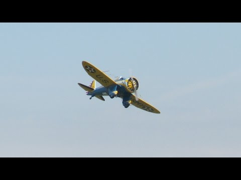 Best Propeller Sound Ever? Boeing P-26 Peashooter! - Flying Legends 2014