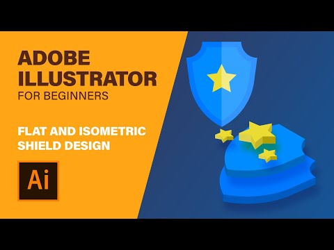 How to make shield + 3d extrusion   Illustrator tutorial for web design   free project download thumbnail