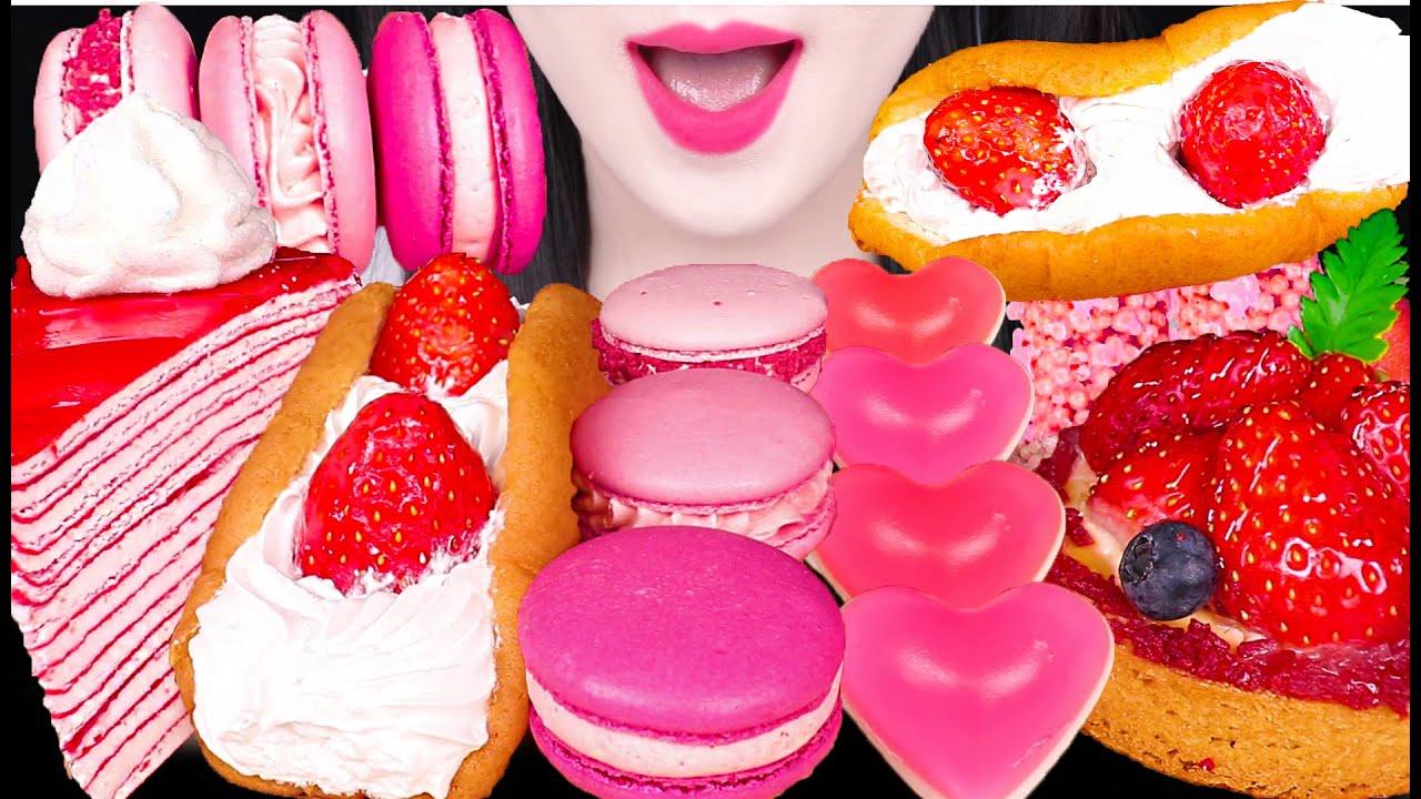 ASMR PINK STRAWBERRY DESSERTS *STRAWBERRY OMELETTE, TART, CREPE CAKE 딸기 오믈렛, 딸기 타르트 먹방 EATING SOUNDS