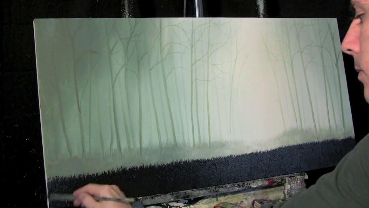 Misty Forest-Tim Gagnon 蒂姆·加格儂-繪畫和圖片的組合,迷霧森林充滿了松樹和其他常綠喬木, 野生精靈在森林內的某處。。。 - milk  - ☆ Milk ☆ 平平。淡淡。也是真。