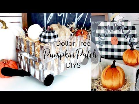Dollar Tree DIY Hay Cart & Buffalo Plaid Fall Decor | DIY Painted Buffalo Plaid Pumpkin