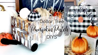 Dollar Tree DIY Hay Cart & Buffalo Plaid Fall Decor | DIY Painted Buffalo Plaid Pumpkin