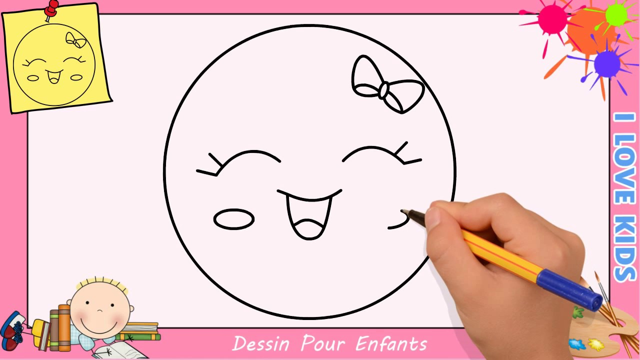 Comment dessiner un emoji kawaii facile pour enfants dessin kawaii 9 youtube - Dessin enfant facile ...
