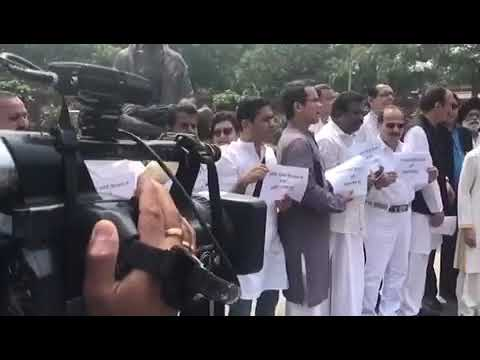Congress MPs hold protest in Parliament premises over Sonbhadra firing incident