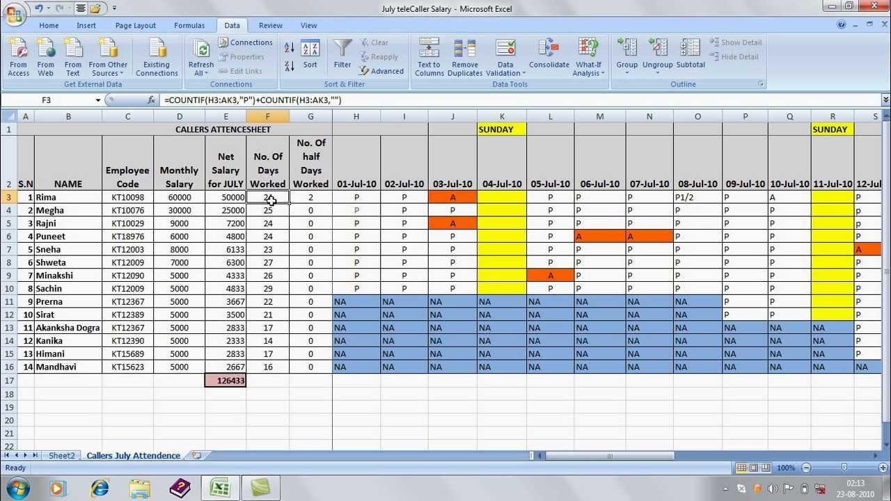 salary formula in excel sheet