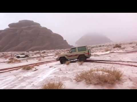 Social media users capture snow falling in Saudi Arabia