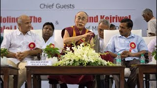 His Holiness responds the questions during the launch of Happiness Curriculum