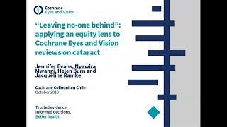 'Leaving no-one behind': applying an equity lens to Cochrane Eyes and Vision reviews on cataract