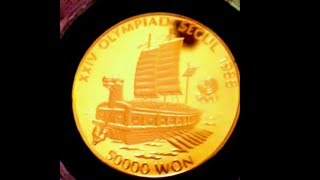1 oz Gold South Korean 50000 Won | 1988 Olympic World Coin