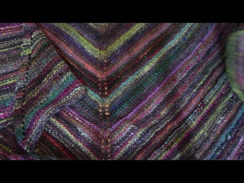 Knitted Chevron And NightShift Shawls Noro Yarn Blocking