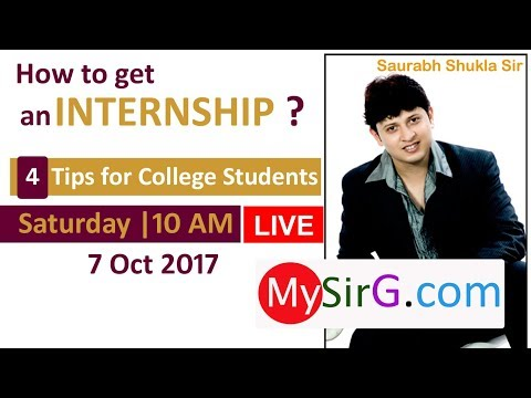 How to get an Internship? Tips for college students | LIVE  (in Hindi)