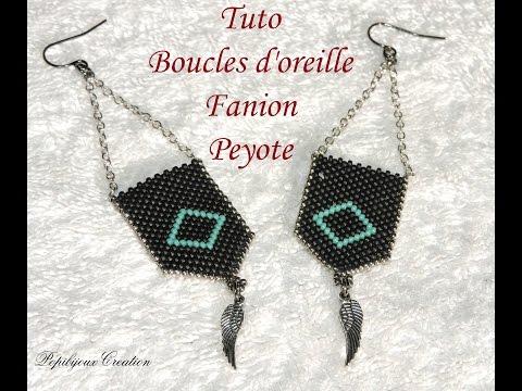 TUTO BOUCLES D'OREILLE FANION (Tissage Peyote)