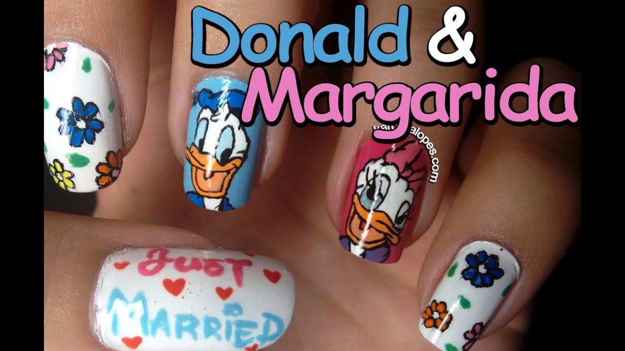 Nail Art - Donald & Daisy Duck, por Karolina Lopes - YouTube