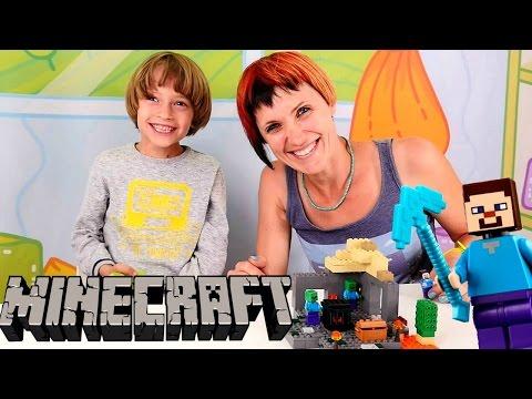 Маша и Арсений: Распаковка набора ЛЕГО Майнкрафт - Пещера сокровищ. Игры для мальчиков Minecraft.