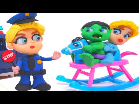 FROZEN ELSA POLICE STOPS SUPERHERO BABIES ❤ Play Doh Cartoons For Kids ❤ Play Doh Stop Motion