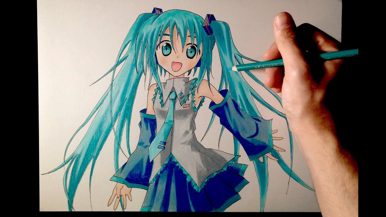 Cómo Dibujar A Hatsune Miku Con Lápices De Colores Tutorial