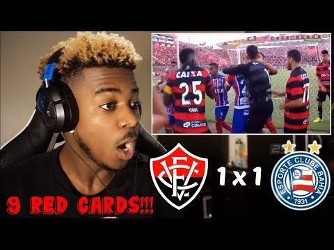 VITÓRIA 1 X 1 BAHIA - A FIGHT LEADS TO 9 RED CARDS & MATCH ABANDONED!!! 😱 | Reaction