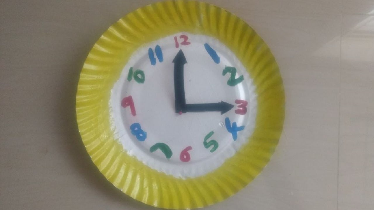 DIY wall clock with paper plate |easy Kids crafts ideas | kids school projects | & DIY wall clock with paper plate |easy Kids crafts ideas | kids ...