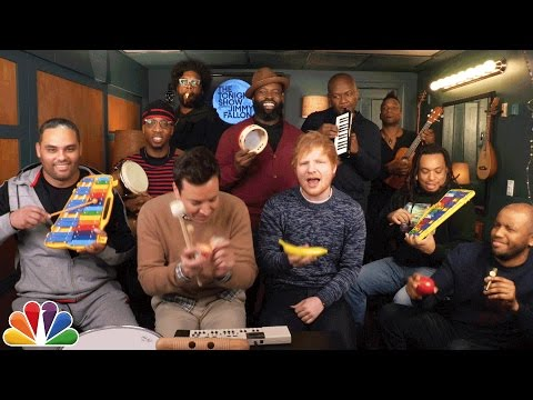 "Thumbnail: Jimmy Fallon, Ed Sheeran & The Roots Sing ""Shape of You"" (Classroom Instruments)"
