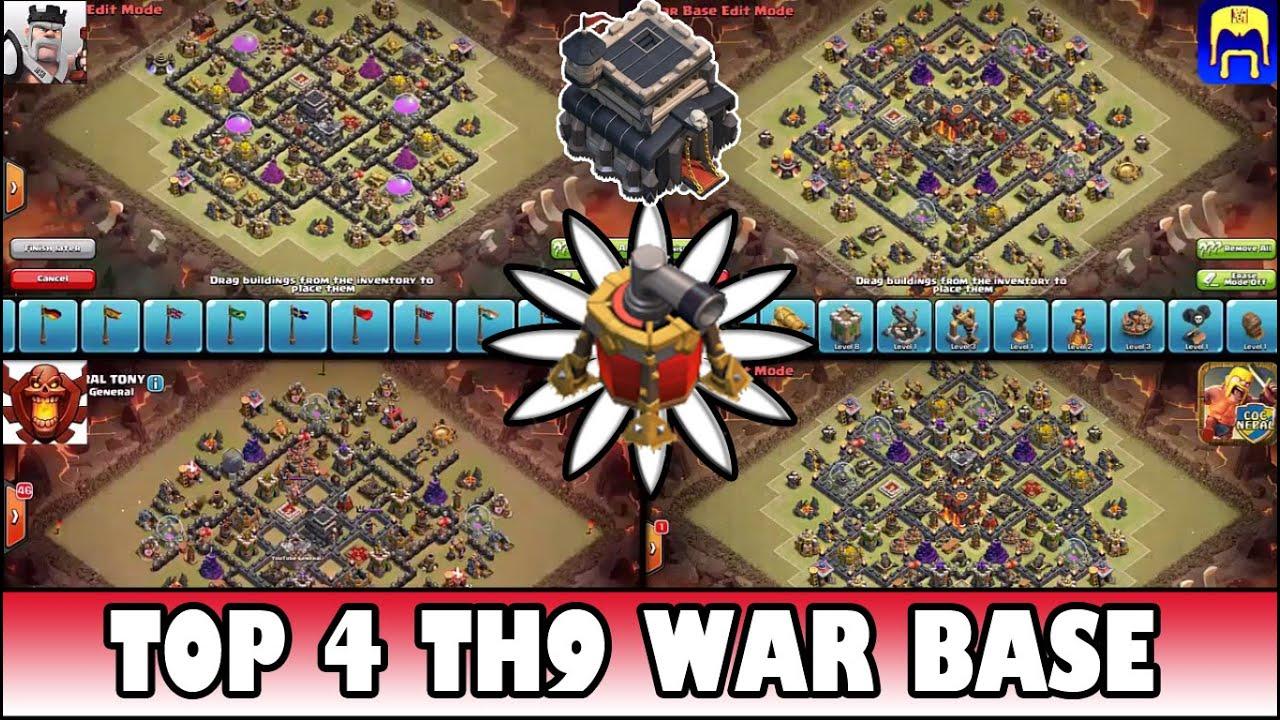 Top 4 town hall 9 th9 clan war base air sweeper quad base
