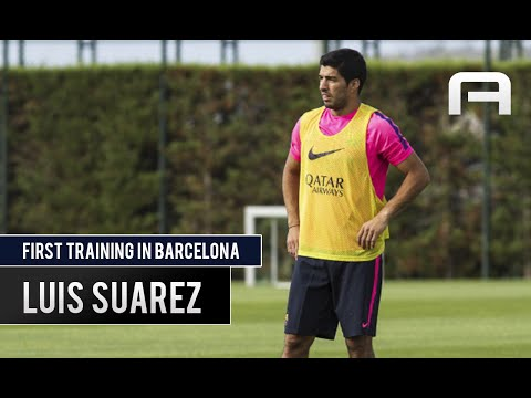 Luis Suarez First Training with FC Barcelona 15/08/2014