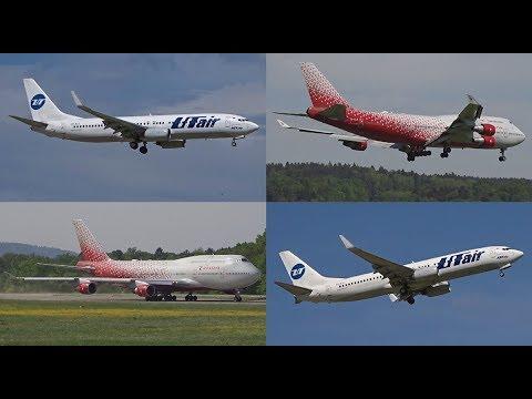[FullHD] Rossiya Boeing 747-400 & 2x UTair Boeing 737-800(WL) at Zurich/ZRH/LSZH