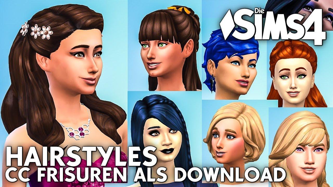 Frauen Frisuren Als Download Die Sims 4 CC Haare YouTube