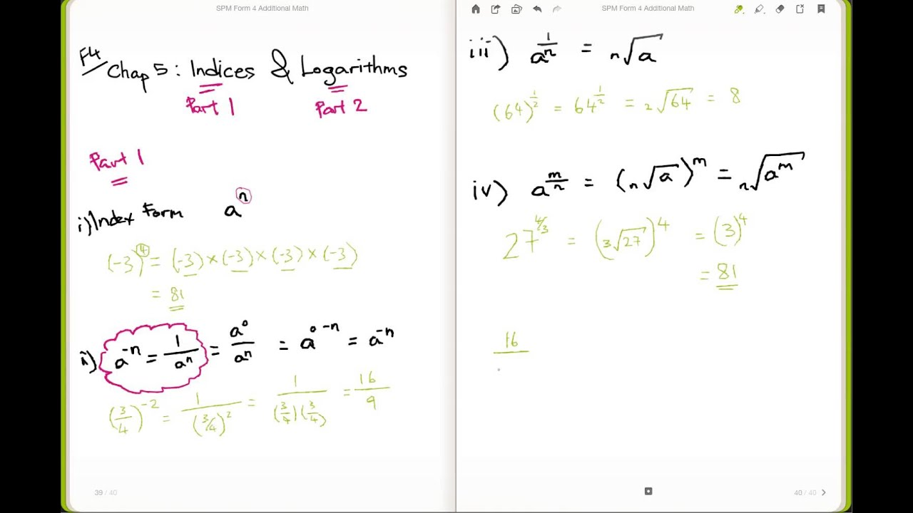 Additional Maths F4 Chap 5  Law of Indices with example  (Part 1 of 2)