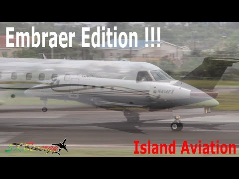 Embraer Edition !!! Legacy 450, 120ER Brasilia, Legacy 650 in action @ St. Kitts Airport