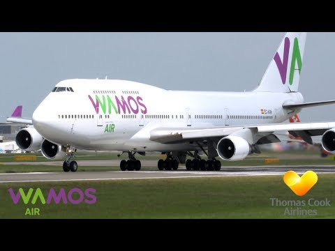 Spectacular Close Departure of Wamos Air B747 at Manchester!