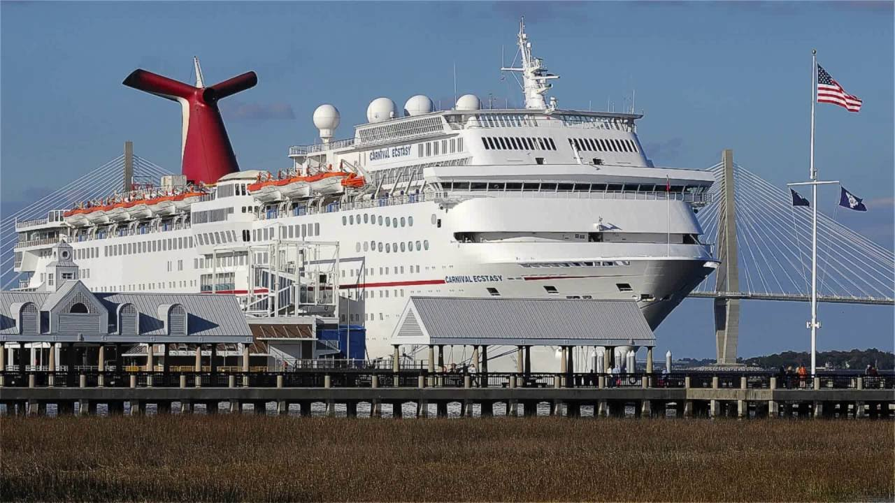 Carnival Ecstasy Embarking From Port Charleston SC YouTube - Cruise ships out of charleston south carolina
