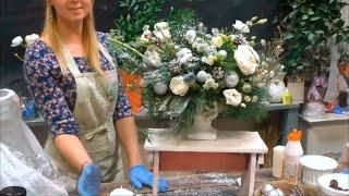 Новогодний МК Букетио 07.12.16 Часть 1. Создание Цветочной композиции на стол
