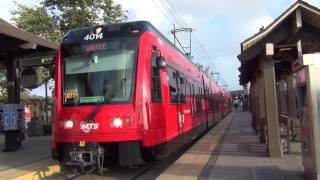 San Diego MTS Trolley Siemens S70 #4014 Green Line departing Old Town