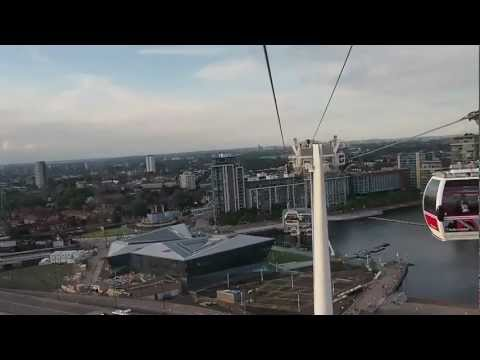 Flying over the Thames in my private capsule on the Emirates Air Line