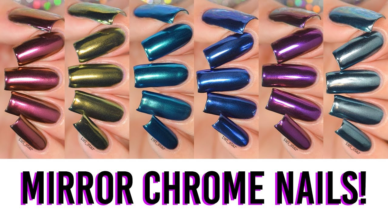A Rainbow of MIRROR CHROME Powder Nails! 6 NEW Colors! - YouTube