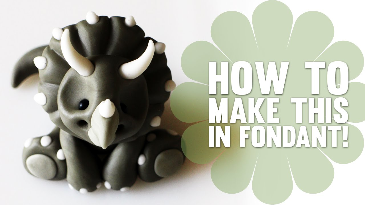 How To Make A Baby Dinosaur Triceratops In Fondant Cake Decorating