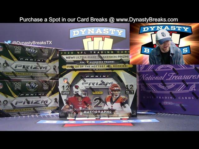 2020 National Treasures and Prizm Football Card 4 Box Mixer   Sports Card Case Breaks