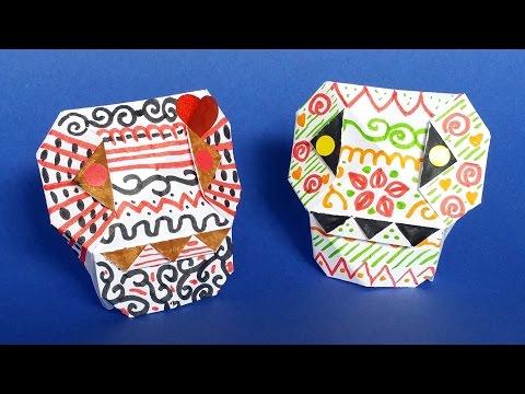 DIY Paper Calavera - Skull Origami Tutorial 💀 Halloween Crafts